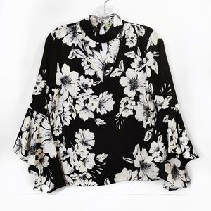 Gianni Bini Black White Floral Long Sleeve Blouse
